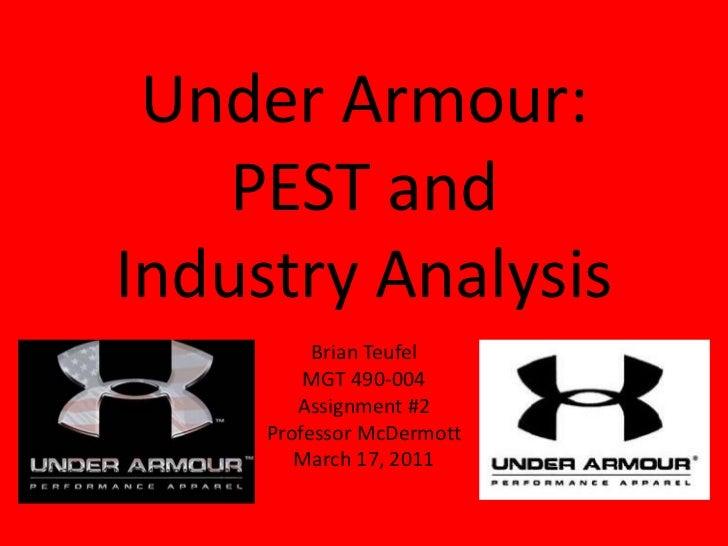 Under Armour:    PEST andIndustry Analysis          Brian Teufel         MGT 490-004        Assignment #2     Professor Mc...