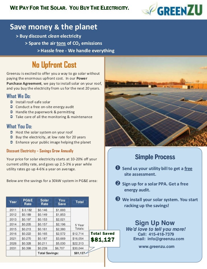 WE PAY FOR THE SOLAR. YOU BUY THE ELECTRICITY.  Save money & the planet      > Buy discount clean electricity          > S...