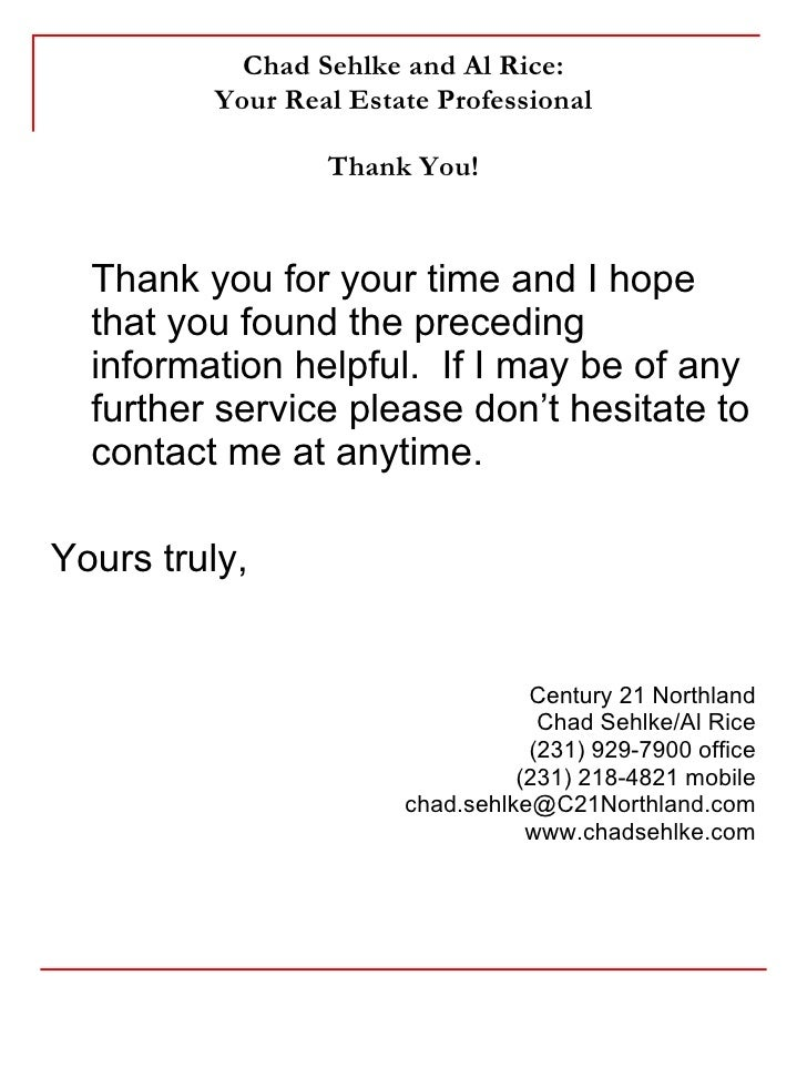 Thank You Letter After Listing Presentation