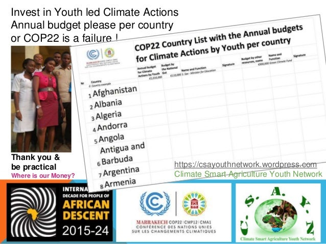 Presented at COP 22 Side Event in African Pavilion, Salle 2 in Marrakech, Morocco on November 15, 2016 38 Youth Engagement...