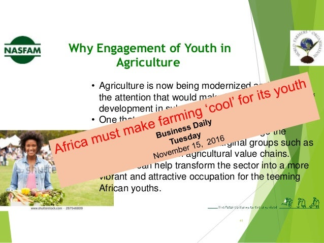 44 Challenges of Youth participation in CSA... Lack of access to productive resources for CSA • Land ownership is an Afric...