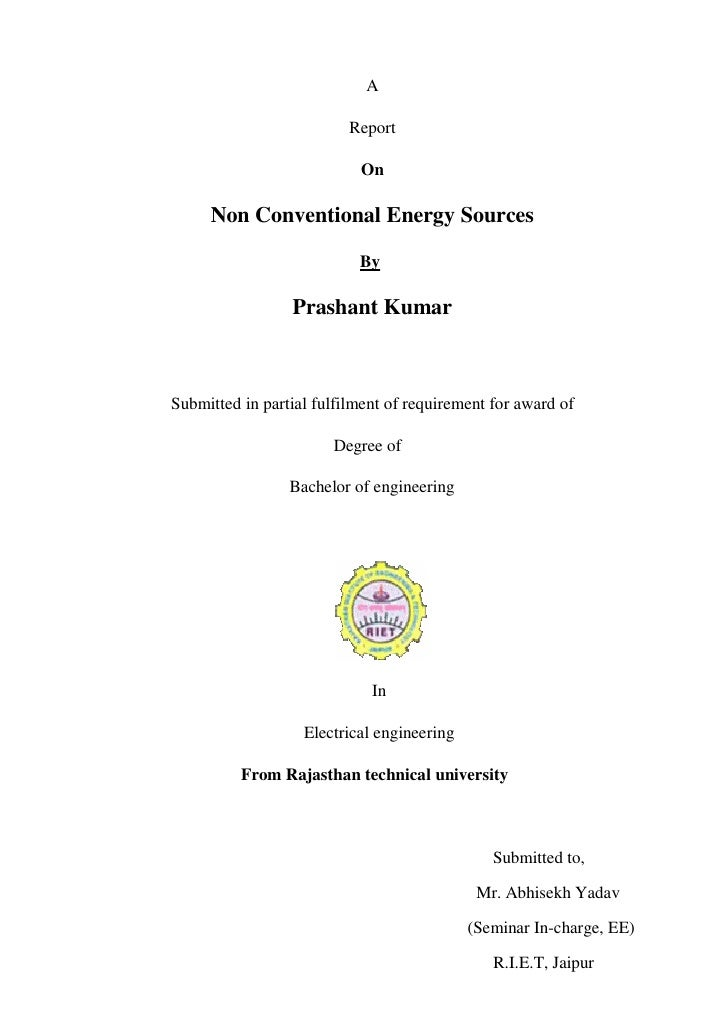 A                            Report                             On       Non Conventional Energy Sources                  ...