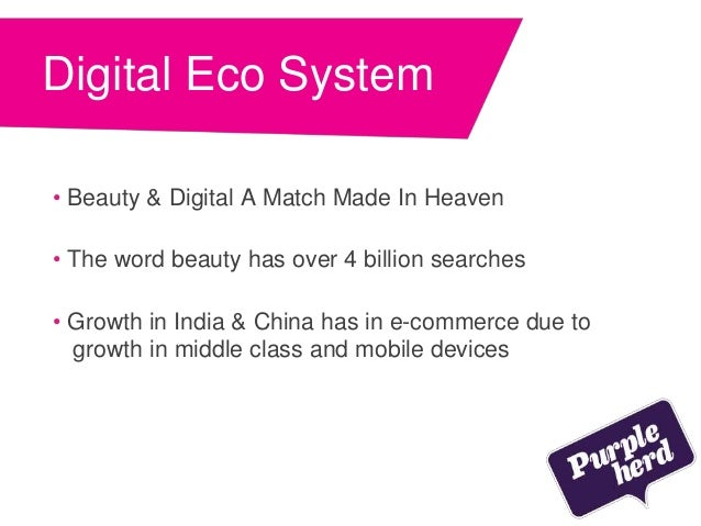 Digital Eco System • Beauty & Digital A Match Made In Heaven • The word beauty has over 4 billion searches • Growth in Ind...