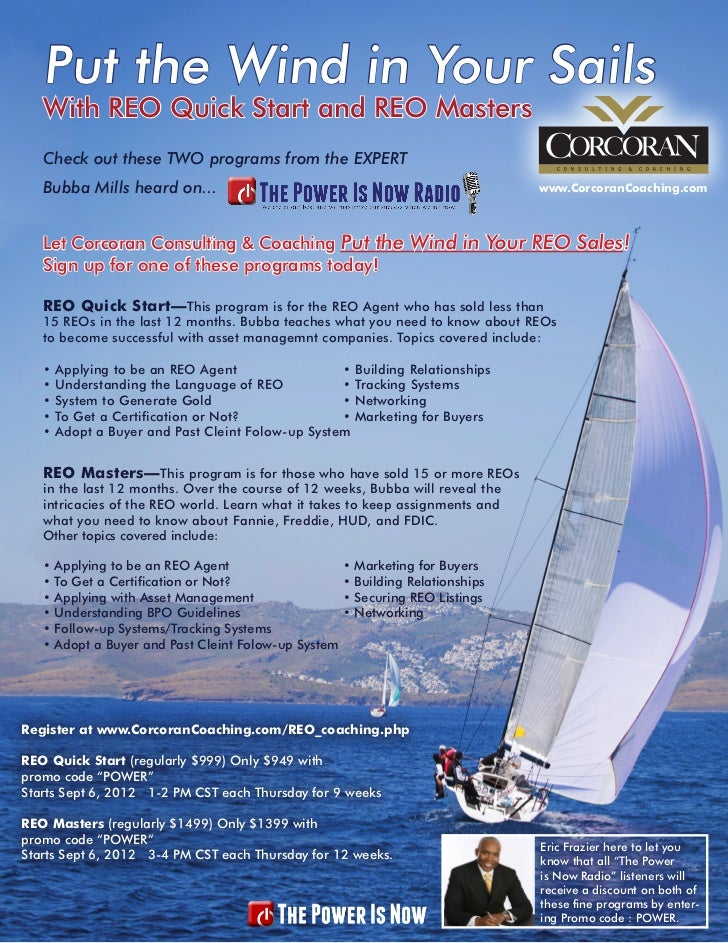 Put the Wind in Your Sails   With REO Quick Start and REO Masters   Check out these TWO programs from the EXPERT   Bubba M...