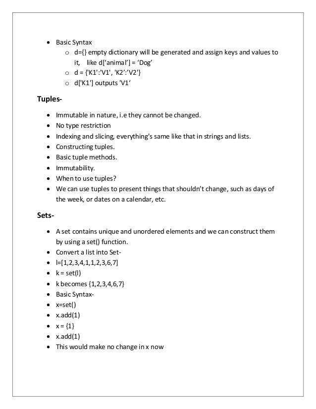 summer training report on python