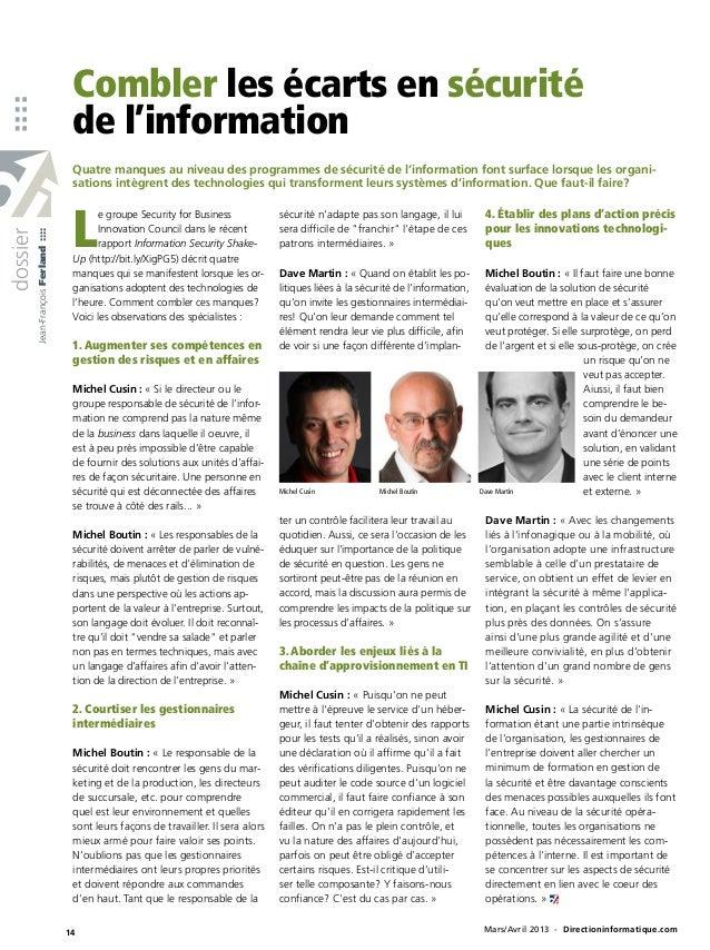 Combler les écarts en sécurité::::                                        de l'information                                ...