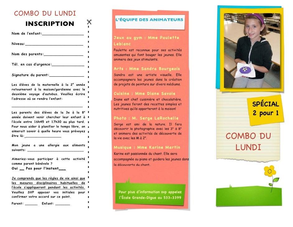COMBO DU LUNDI                                                 L'ÉQUIPE DES ANIMATEURS        INSCRIPTIONNom de l'enfant:_...