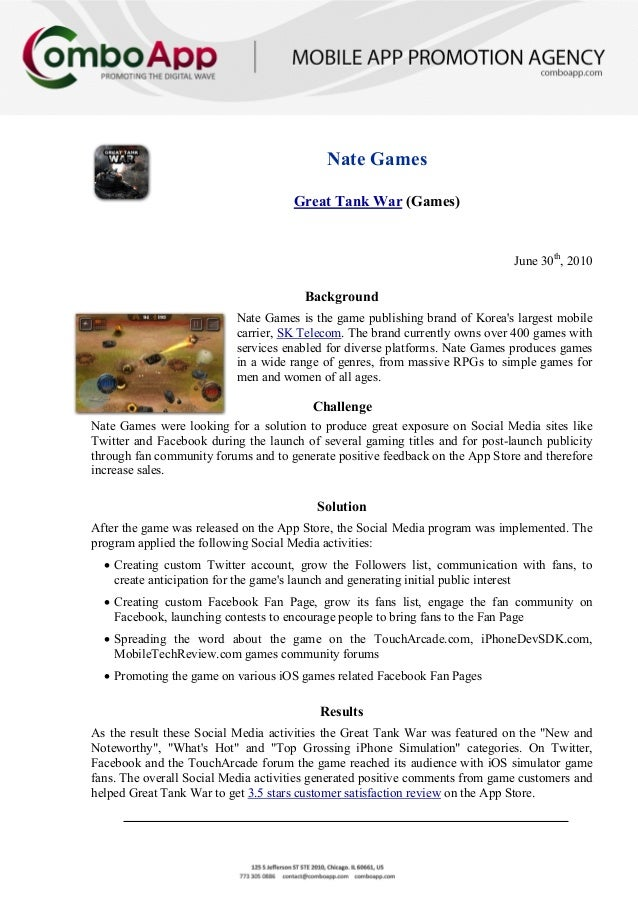 Nate GamesGreat Tank War (Games)June 30th, 2010BackgroundNate Games is the game publishing brand of Koreas largest mobilec...