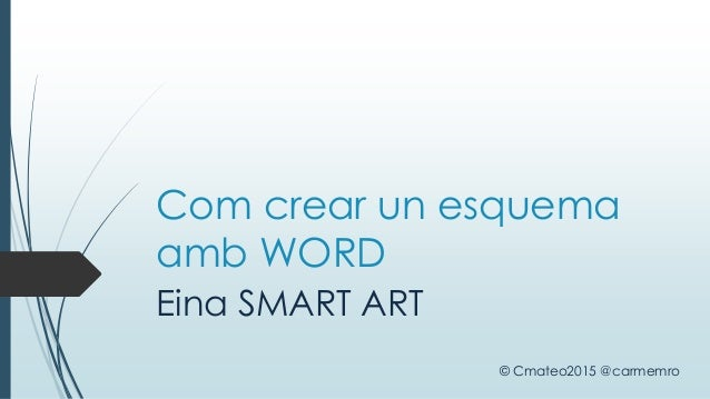 Com crear un esquema amb WORD Eina SMART ART © Cmateo2015 @carmemro