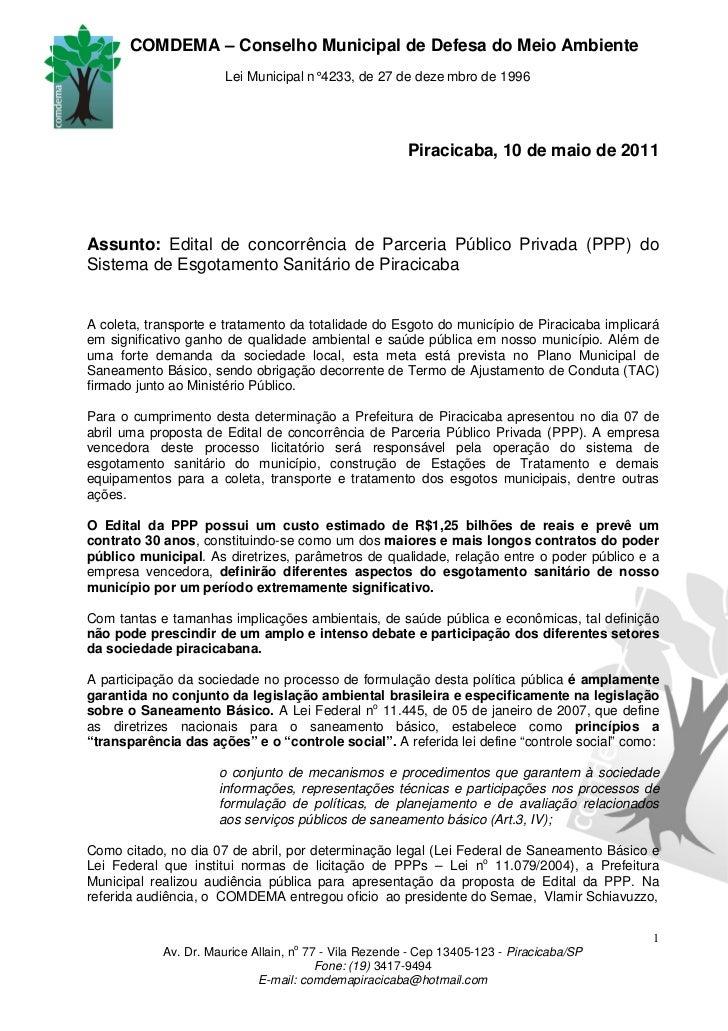 COMDEMA – Conselho Municipal de Defesa do Meio Ambiente                       Lei Municipal n° 4233, de 27 de deze mbro de...