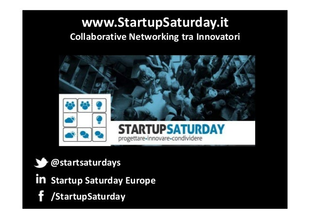 www.StartupSaturday.it Collaborative Networking tra Innovatori  @startsaturdays Startup Saturday Europe /StartupSaturday