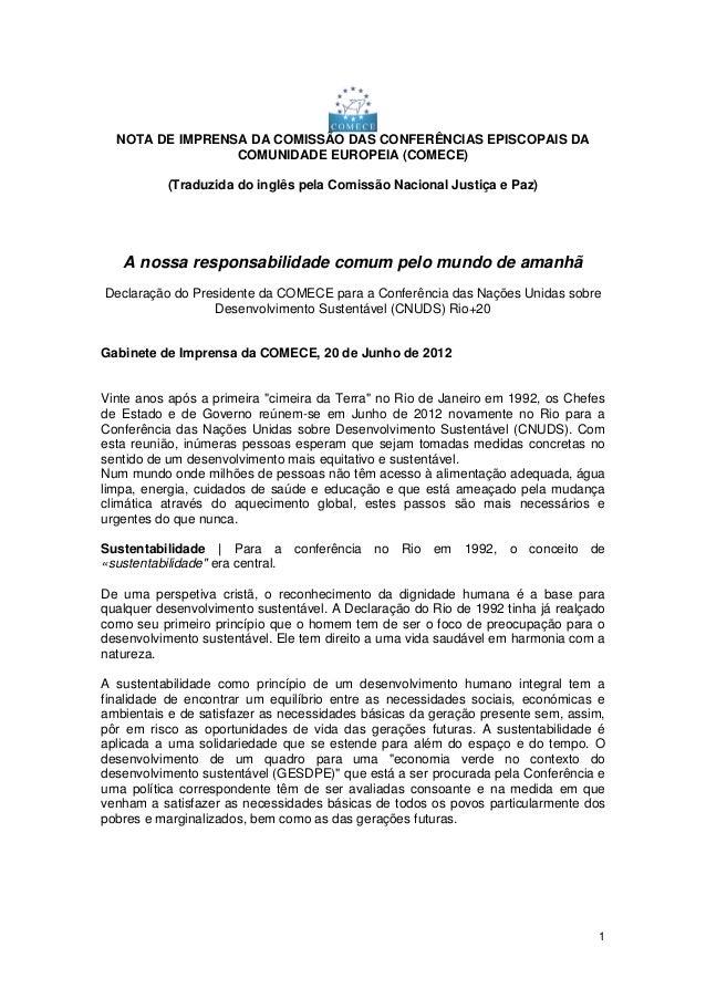 1 NOTA DE IMPRENSA DA COMISSÃO DAS CONFERÊNCIAS EPISCOPAIS DA COMUNIDADE EUROPEIA (COMECE) (Traduzida do inglês pela Comis...
