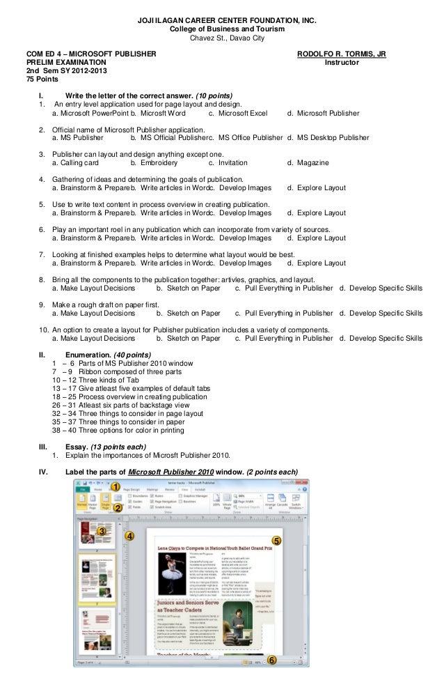 JOJI ILAGAN CAREER CENTER FOUNDATION, INC.College of Business and TourismChavez St., Davao CityCOM ED 4 – MICROSOFT PUBLIS...
