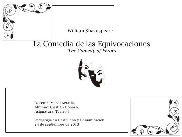 William Shakespeare  La Comedia de las Equivocaciones The Comedy of Errors  Docente: Mabel Arratia. Alumno: Cristian Donos...