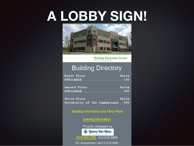A LOBBY SIGN!