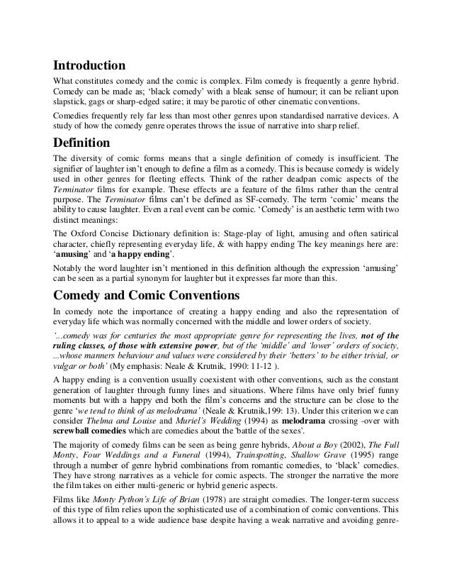 Comedy conventions essay.