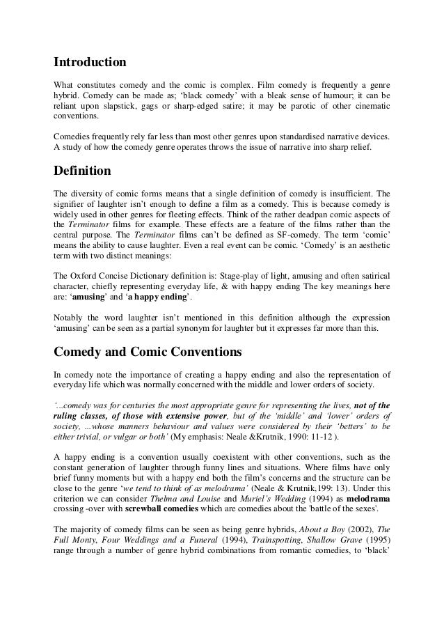 comedy conventions essay  introductionwhat constitutes comedy and the comic is complex film comedy is frequently a genrehybrid
