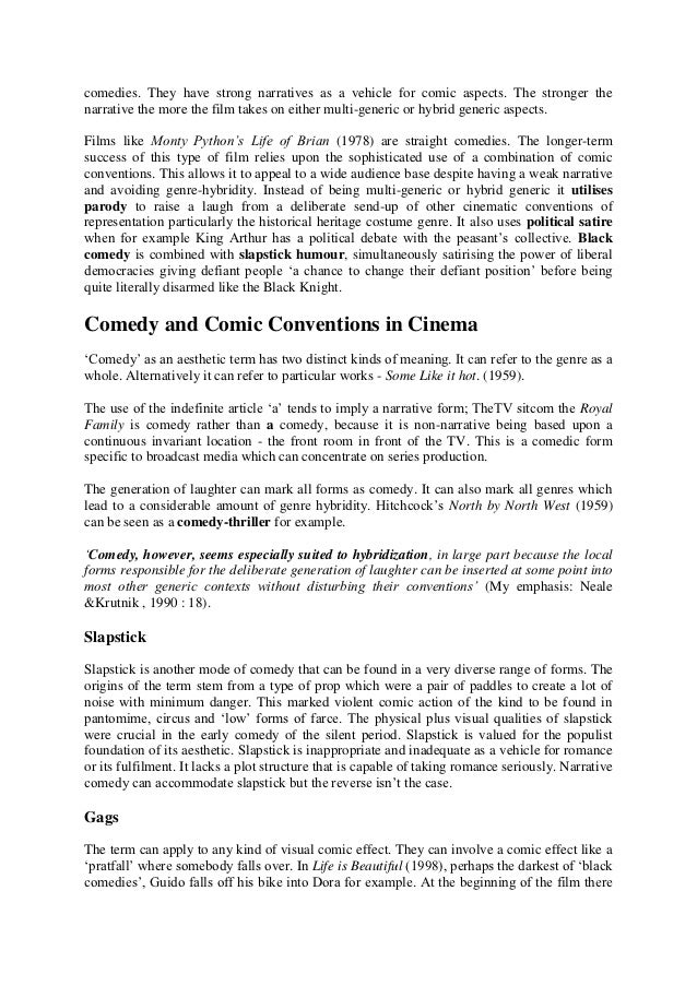 comedy conventions essay   2 comedies