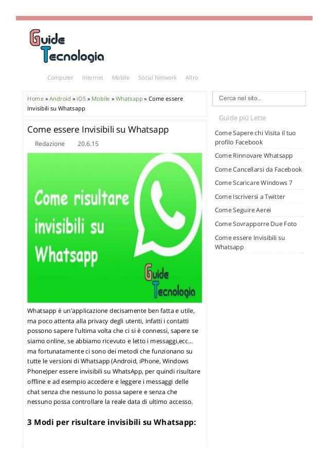 Come essere invisibili su WhatsApp: la guida definitiva