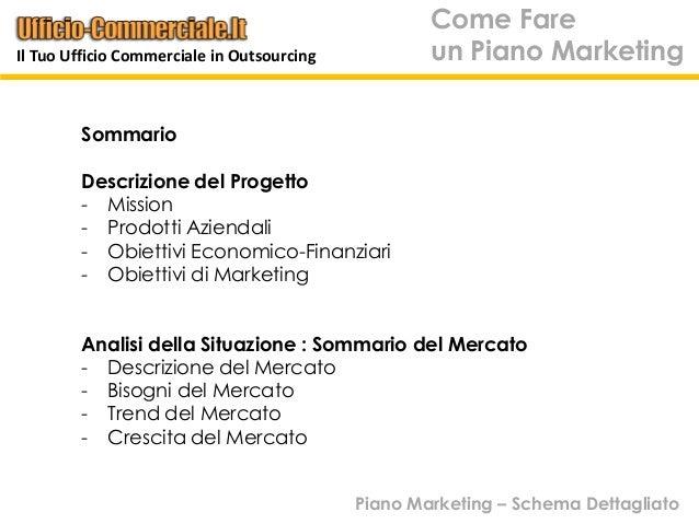 Come Fareun Piano MarketingSommarioDescrizione del Progetto- Mission- Prodotti Aziendali- Obiettivi Economico-Finanziari- ...