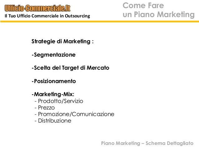 Strategie di Marketing :-Segmentazione-Scelta del Target di Mercato-Posizionamento-Marketing-Mix:- Prodotto/Servizio- Prez...