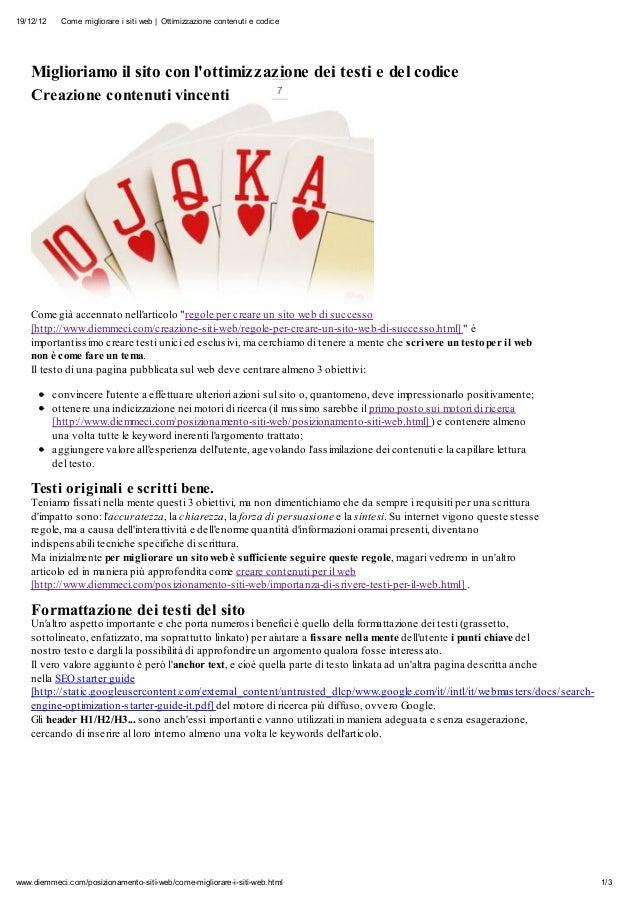 19/12/12    Come migliorare i siti web | Ottimizzazione contenuti e codice    Miglioriamo il sito con lottimizzazione dei ...