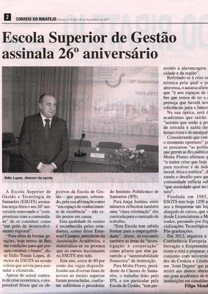 Comemoração do 26 aniversário da esgts   o correio do ribatejo 25-11-2011