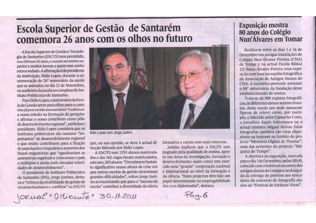 Comemoração do 26 aniversário da esgts   o mirante 30-11-2011