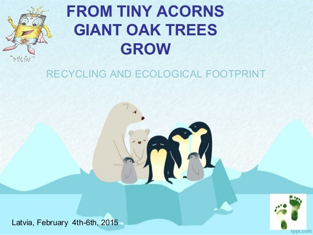 FROM TINY ACORNS GIANT OAK TREES GROW RECYCLING AND ECOLOGICAL FOOTPRINT Latvia, February 4th-6th, 2015