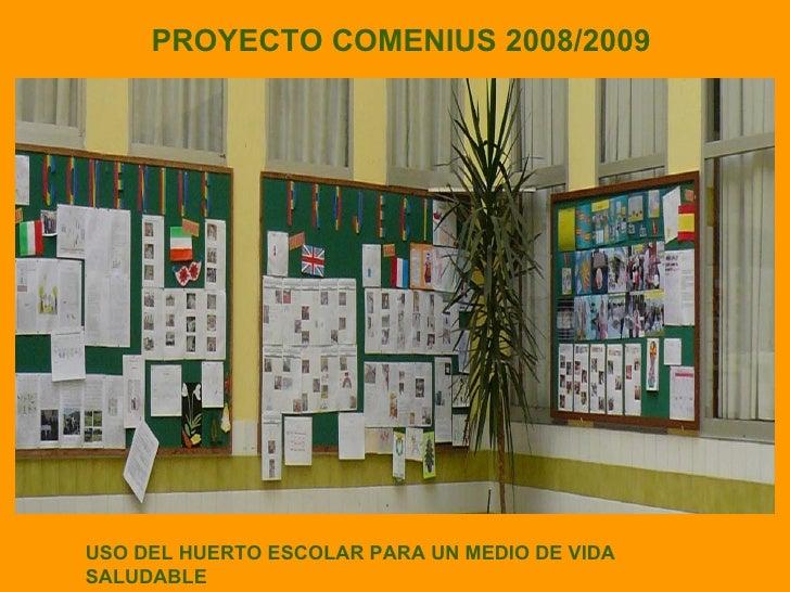 PROYECTO COMENIUS 2008/2009 USO DEL HUERTO ESCOLAR PARA UN MEDIO DE VIDA SALUDABLE