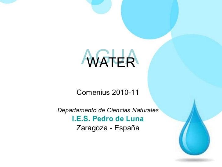 WATER Comenius 2010-11 Departamento de Ciencias Naturales I.E.S . Pedro de Luna Zaragoza - España AGUA