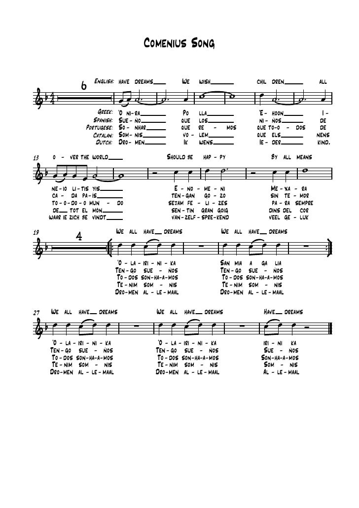 Comenius Song                 6    English: have dreams                   We      wish                          chil dren ...