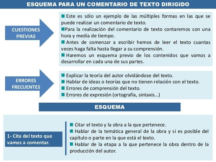 ESQUEMA PARA UN COMENTARIO DE TEXTO DIRIGIDO<br /> Este es sólo un ejemplo de las múltiples formas en las que se puede rea...