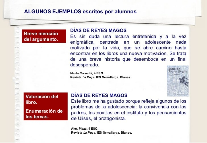 ALGUNOS EJEMPLOS escritos por alumnos DÍAS DE REYES MAGOS Es sin duda una lectura entretenida y a la vez enigmática, centr...