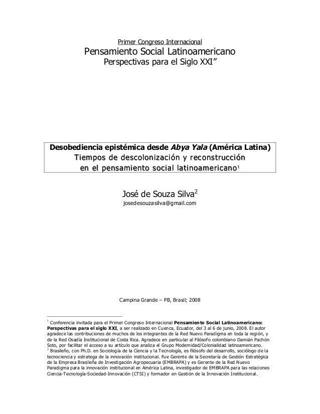 Primer Congreso Internacional                  Pensamiento Social Latinoamericano                            Perspectivas ...