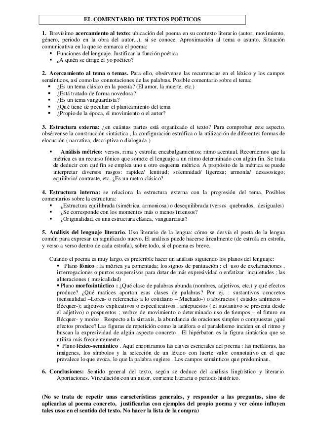 EL COMENTARIO DE TEXTOS POÉTICOS 1. Brevísimo acercamiento al texto: ubicación del poema en su contexto literario (autor, ...