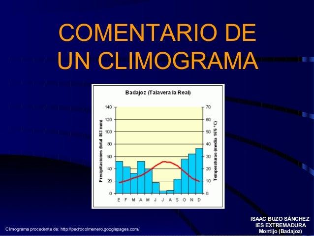 COMENTARIO DE UN CLIMOGRAMA ISAAC BUZO SÁNCHEZ IES EXTREMADURA Montijo (Badajoz)Climograma procedente de: http://pedrocolm...