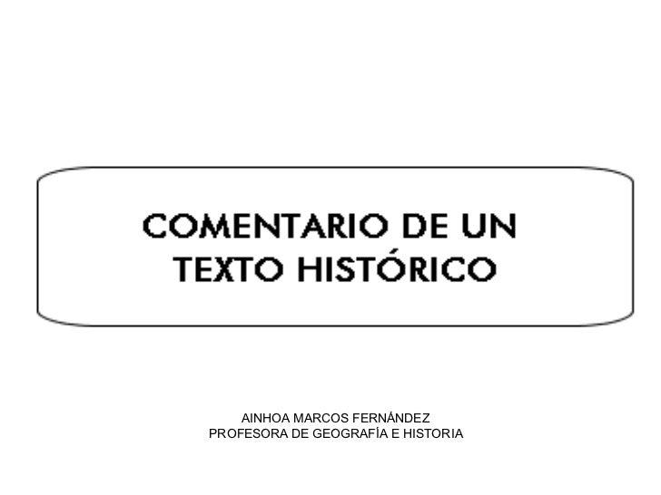 AINHOA MARCOS FERNÁNDEZ PROFESORA DE GEOGRAFÍA E HISTORIA