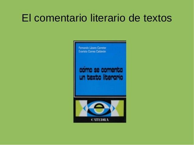 El comentario literario de textos