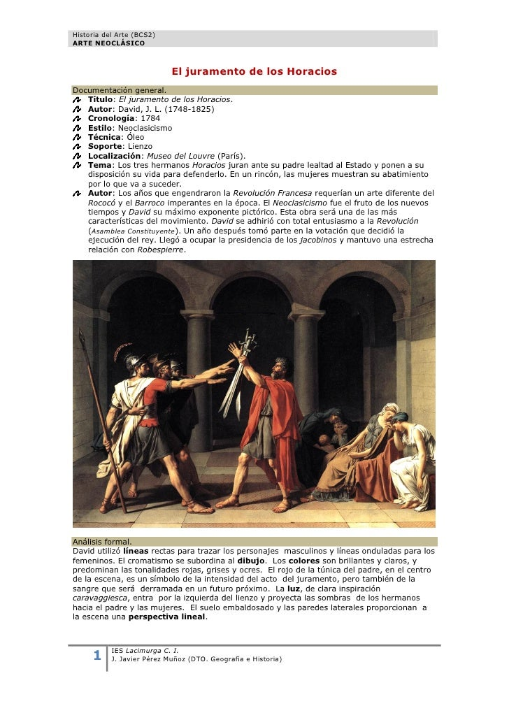 Historia del Arte (BCS2)ARTE NEOCLÁSICO                            El juramento de los HoraciosDocumentación general.   Tí...