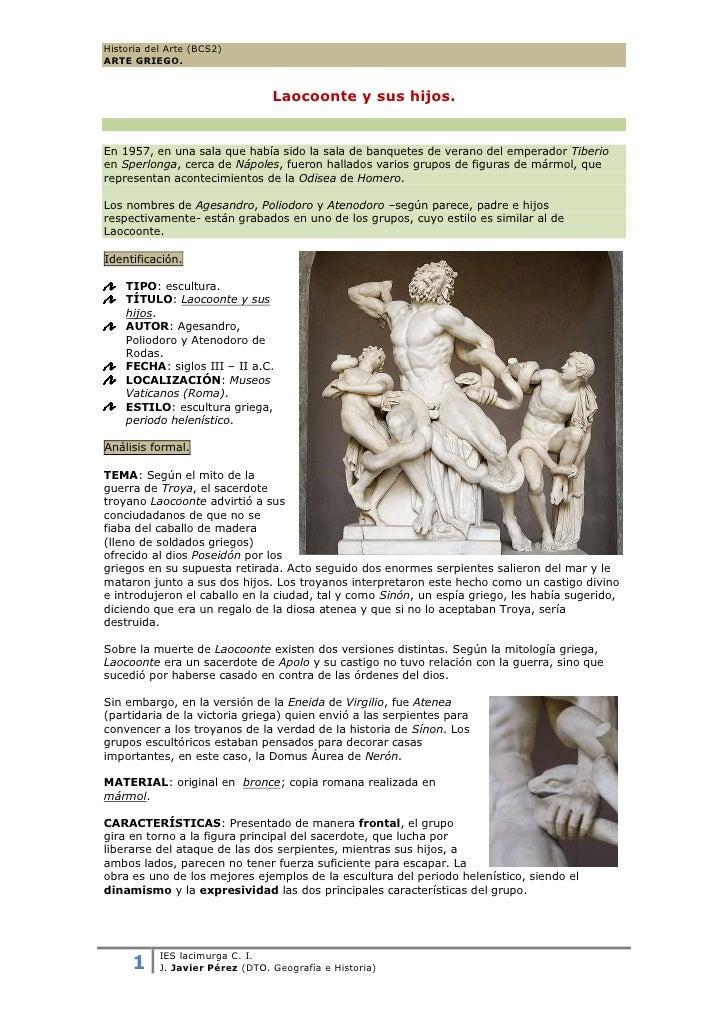 Historia del Arte (BCS2)ARTE GRIEGO.                                 Laocoonte y sus hijos.En 1957, en una sala que había ...