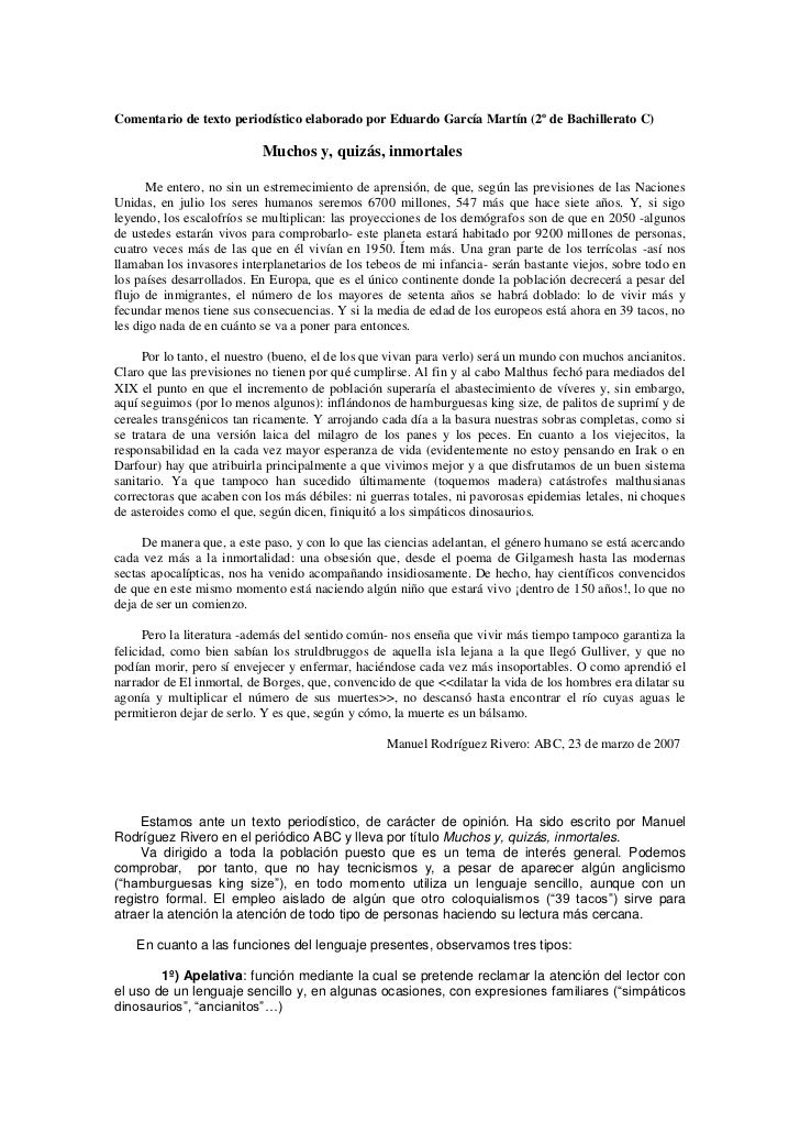 Comentario de texto periodístico elaborado por Eduardo García Martín (2º de Bachillerato C)                           Much...