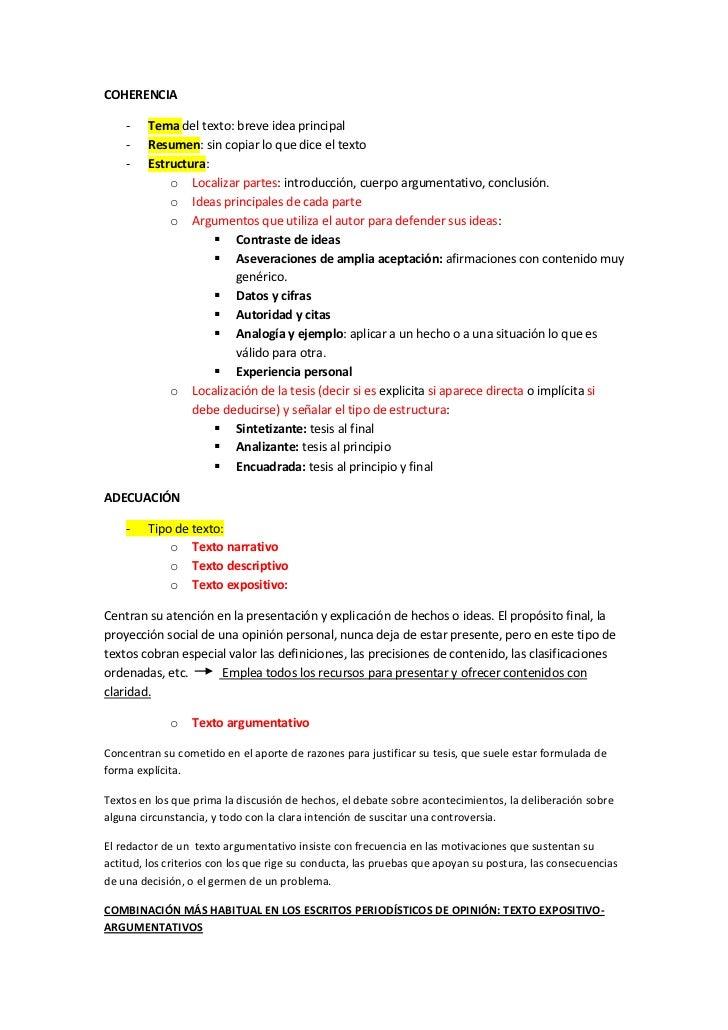 COHERENCIA    -    Tema del texto: breve idea principal    -    Resumen: sin copiar lo que dice el texto    -    Estructur...