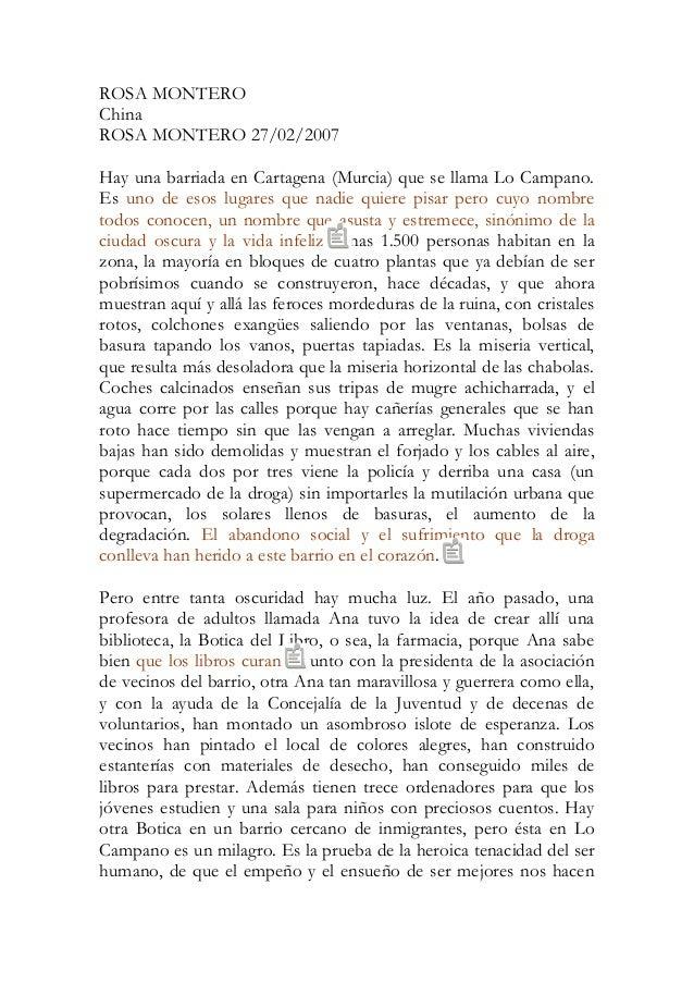 ROSA MONTERO China ROSA MONTERO 27/02/2007 Hay una barriada en Cartagena (Murcia) que se llama Lo Campano. Es uno de esos ...