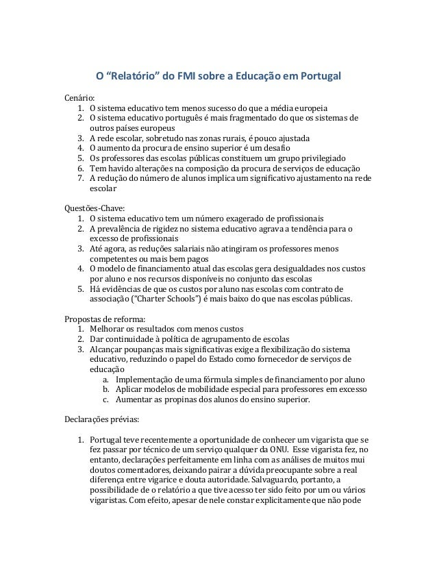 """O """"Relatório"""" do FMI sobre a Educação em Portugal  Cenário:      1. O sistema educativo tem ..."""