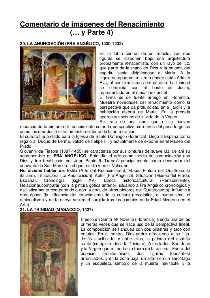 Comentario de imágenes del Renacimiento             (… y Parte 4)20. LA ANUNCIACIÓN (FRA ANGÉLICO, 1430-1432)             ...