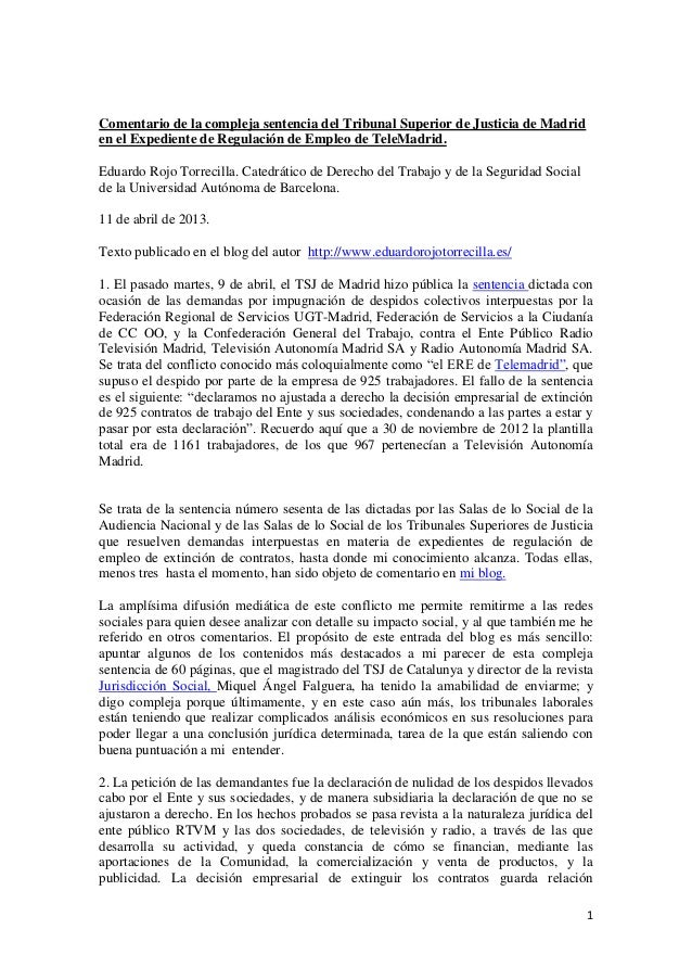 Comentario de la compleja sentencia del Tribunal Superior de Justicia de Madriden el Expediente de Regulación de Empleo de...