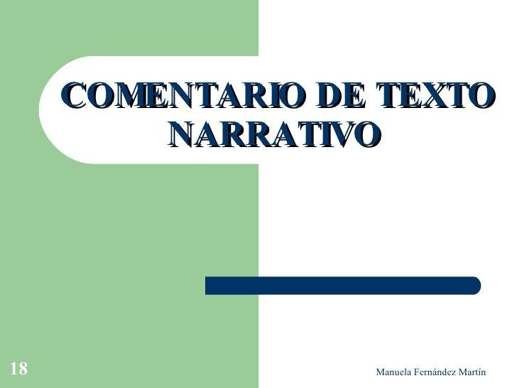 COMENTARIO DE TEXTO NARRATIVO