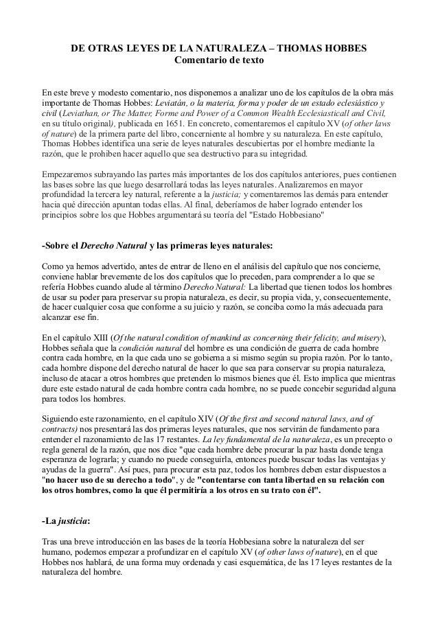 DE OTRAS LEYES DE LA NATURALEZA – THOMAS HOBBES Comentario de texto En este breve y modesto comentario, nos disponemos a a...