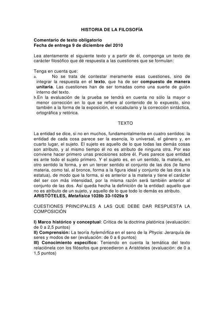 HISTORIA DE LA FILOSOFÍAComentario de texto obligatorioFecha de entrega 9 de diciembre del 2010Lea atentamente el siguient...